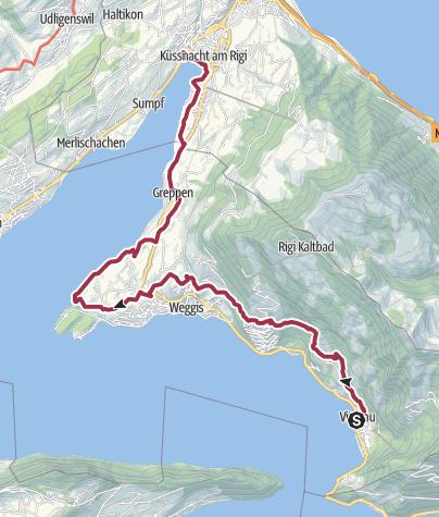 Carte / Waldstätterweg: Etape 2 Vitznau - Küssnacht