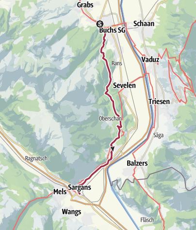 Map / Schlossweg von Werdenberg nach Sargans