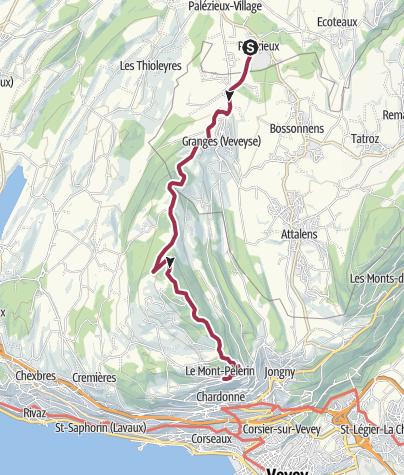 Map / Von Palézieux über den Mont Pèlerin nach Vevey