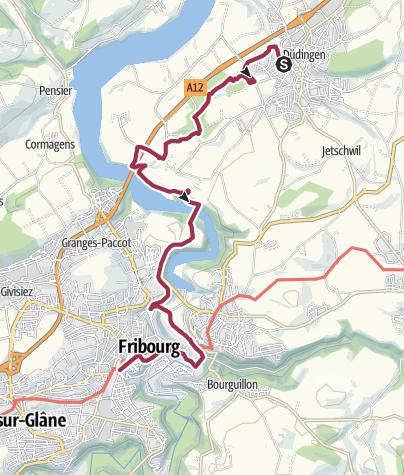 Map / Von Düdingen über den Schiffenensee nach Fribourg