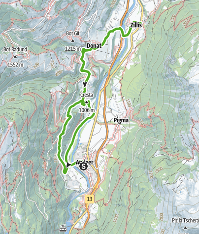 Karte / Waldpfad zur Burgruine (Andeer - Clugin - Zillis)