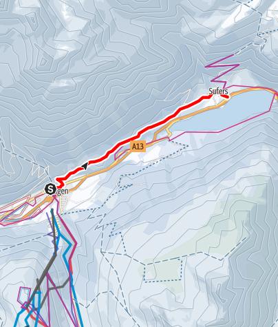 Karte / Römerweg (Splügen - Sufers)