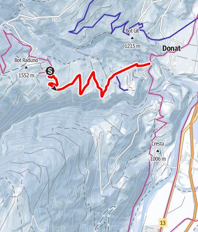 Karte / Schlittelweg Wergenstein - Casti - Donat