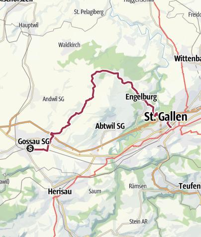 מפה / Gossau - Tannenberg - St.Gallen
