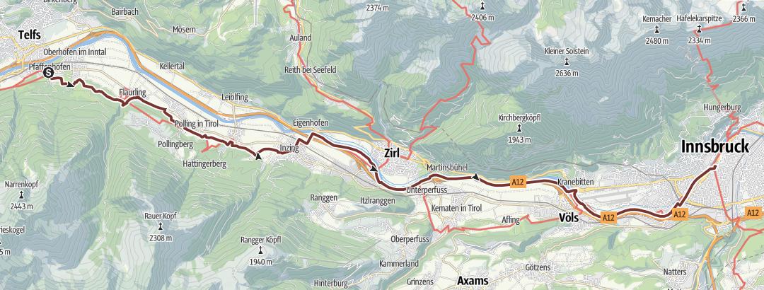 地图 / Jerusalemweg: Pfaffenhofen - Innsbruck