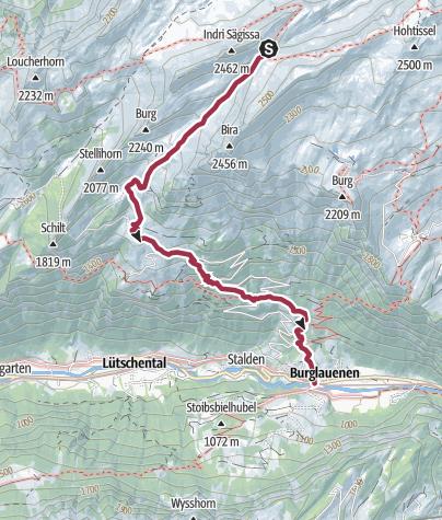 Karte / Berghaus Männdlenen - Burglauenen