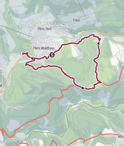 Karte / 4-Seen-Wanderung: Caumasee - Crestasee - Felsbachschlucht