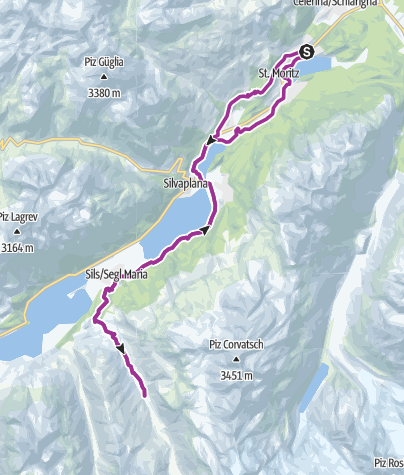Map / The lakes of the Upper Engadine with Val Fex