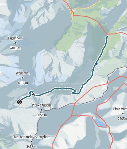 Map /  Zwischbergenpass: Gondo - Zwischbergenpass - Saas-Almagell