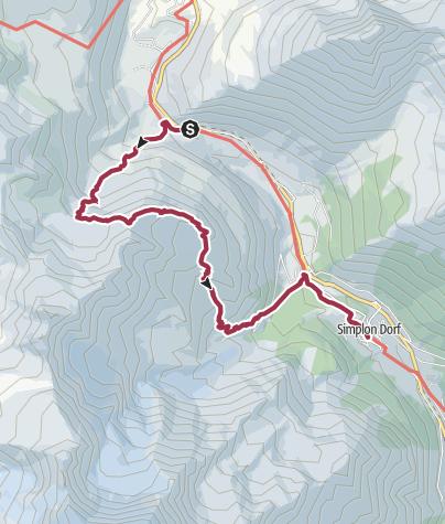 Karte / Am Fusse des Fletschhorn nach Simplon Dorf