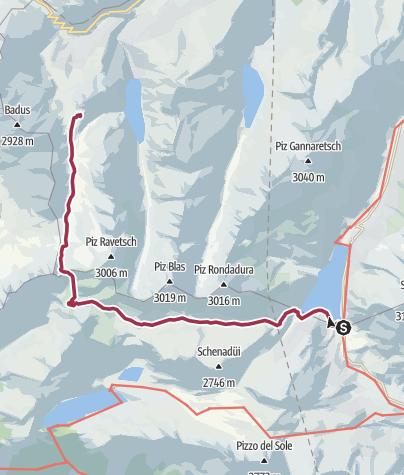 Karte / Kronenwanderung: Lukmanierpass - Maighelshütte