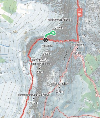 """Karte / spreizend und stemmend in der """"Fehrmann"""" auf den Stabelerturm (2.805 m, mittlerer Vajoletturm)"""