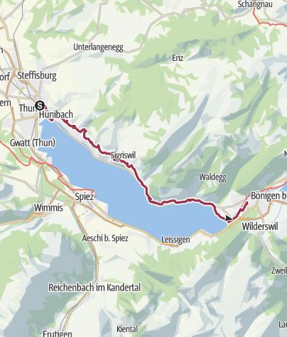 Carte / En amont du lac de Thoune: Thoune - Interlaken