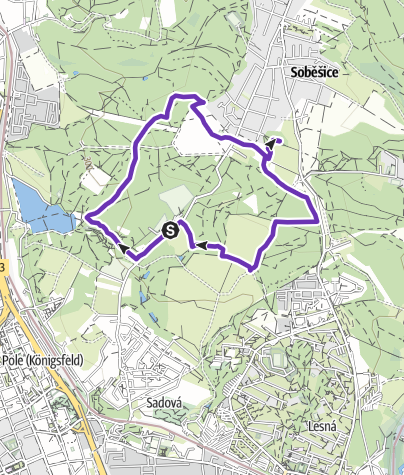 Map / Running trail near Soběšice with ascend to the lookout tower Ostrá Horka