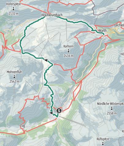 Karte / Lechschleife 1 - Auf den Spuren der Walser am Tannberg
