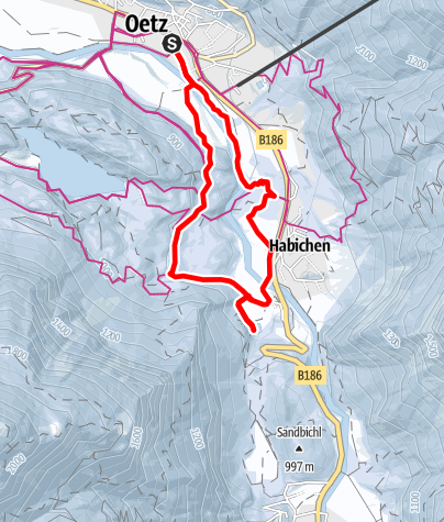 Map / Andreas-Hofer-Way: Oetz- Wellerbrücke- Habichen/Lake Piburger See