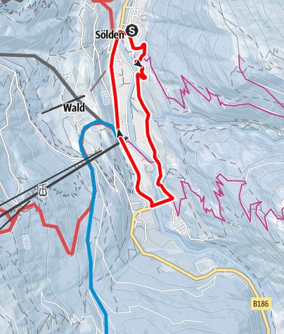 Karte / Rundwanderung zur Hängebrücke - Sölden