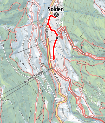 Map / Sölden's walk along the Ötztaler Ache