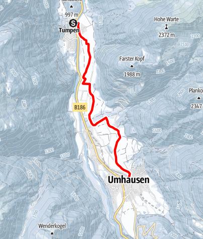 Karte / Tumpen- Lehn Platztl- Kapelle, Maria Schnee- Oesten- Umhausen