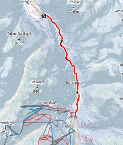 Karte / Winterwanderweg Aschbacherwald - Längenfeld