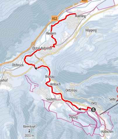 Karte / 5 Orte Wanderung - Oetz, Sautens, Haiming