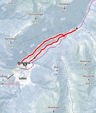 Karte / Niederthai - Bergmahderweg - Larstigalm