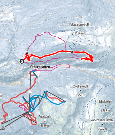 Map / Winterhiking Route Ochsengarten - Feldring Alm