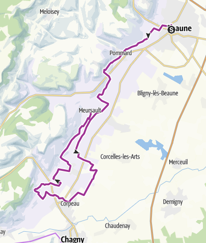 Map / Beaune to Meursault