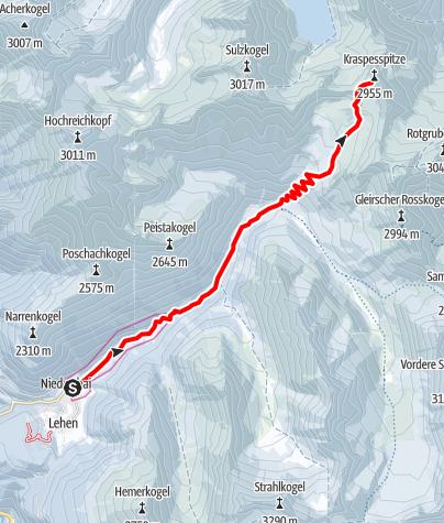 Map / Kraspesspitze, 2.954m - Umhausen-Niederthai