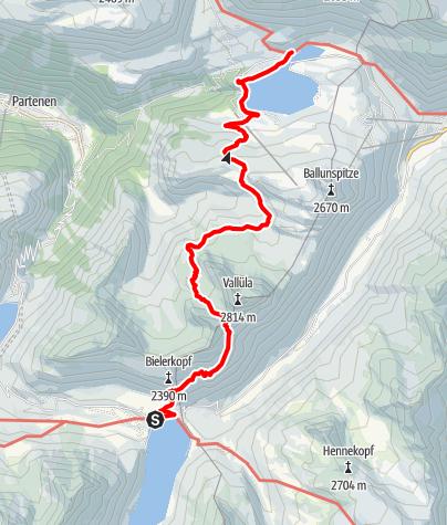 Karte / Silvrettarunde Montafon - Madlenerhaus bis Alpengasthof Zeinisjoch