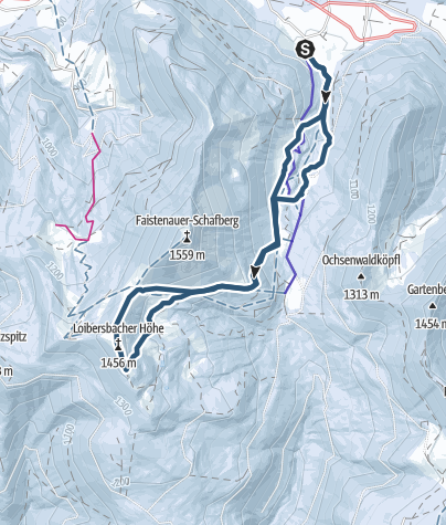 Map / Ski tour learning trail to the top of Loibersbacher Höhe 1456m