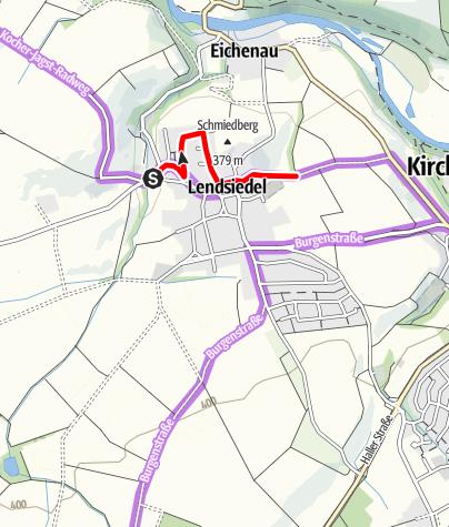 Karte / Umleitung Kocher-Jagst-Radweg (Kirchberg-Lendsiedel)