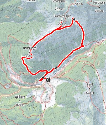 Karte / Narrenkogel und Poschachkogel - Umhausen-Niederthai