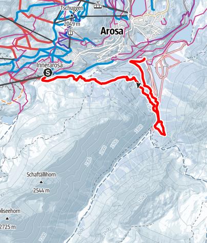 Map / Hörnli Express-Bärenbad-Isel-kleiner Alteinwasserfall-Langlaufbus