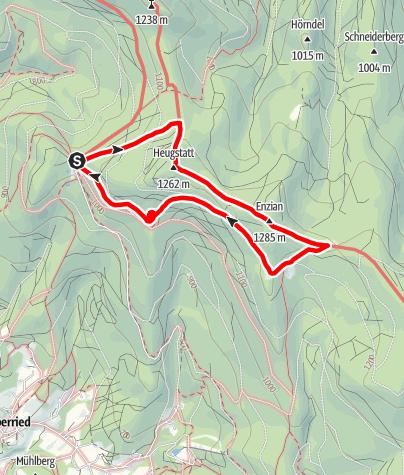 Karte / Heugstatt, Enzian und Hochstein von Berghütte Schareben