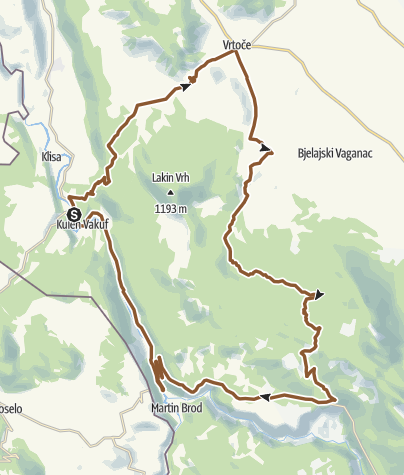 Map / National park Una-Osječenica cycling route