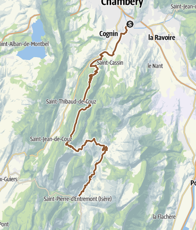 Carte / Jonction Chambéry - La Traversée de la Chartreuse à VTT via les Chemins du Soleil