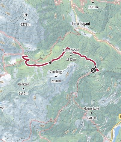 Karte / Zustieg auf das Fraganter Schutzhaus von Grafenberg über den Rollbahnweg