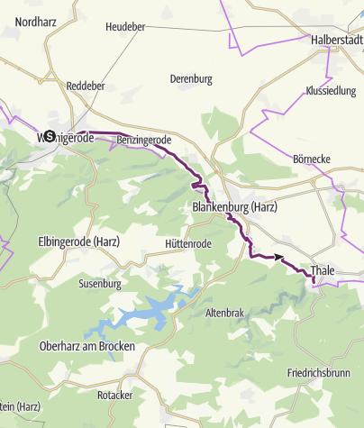 Karte / Europaradweg R1 zwischen Ilsenburg (Harz) und Thale