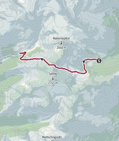 Karte / Übergang vom Fraganter Schutzhaus auf das Sadnighaus über die Sadnigscharte