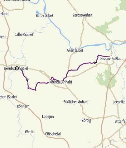 Karte / Europaradweg R1 zwischen Bernburg (Saale) und Dessau-Roßlau