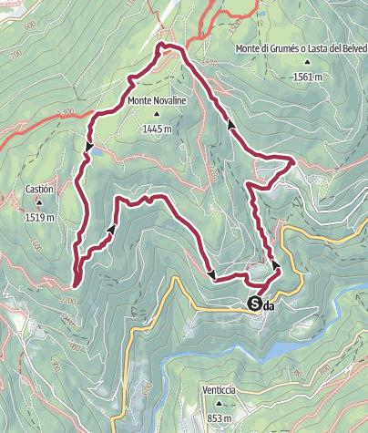 Map / Itinerario lago di Valda - Castion