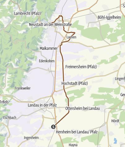 Karte / Radltour von Insheim zur Winzergenossenschaft Weinbiet Neustadt-Mußbach