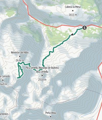 Mapa / Ascenso al Neverón de Urriellu por su arista sur