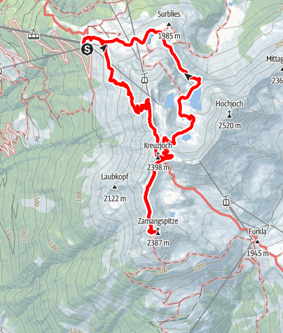 Karte / Gipfelweg Zamangspitze (retour über Seeweg)