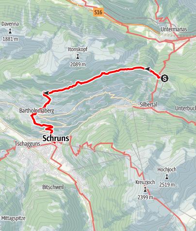 Karte / Bergknappenweg Kristberg - Schruns
