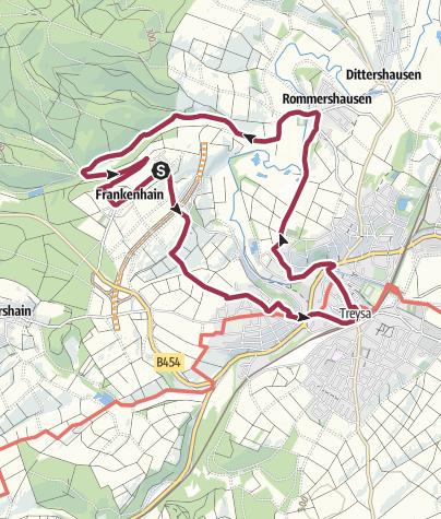 Karte / Rundwanderweg Frankenhain-Treysa, Hugenotten- und Waldenserpfad