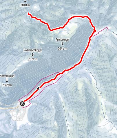 Karte / Hohe Wasserfalle, 3003m - Umhausen-Niederthai