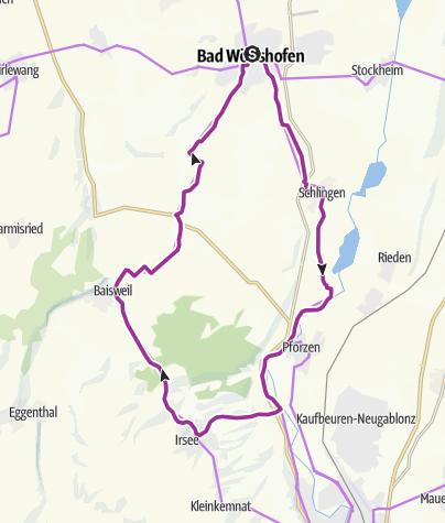 Karte / Von Bad Wörishofen zum Kloster Irsee