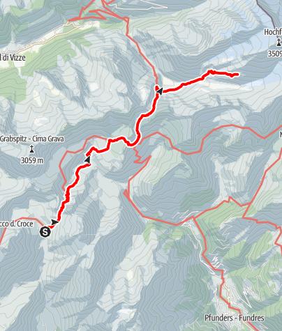 Karte / Von der Brixnerhütte zur Hochfeilerhütte